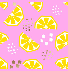 seamless lemon geometric pattern vector image