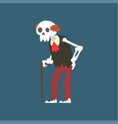 senior skeleton with walking stick elderly dead vector image