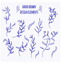 Set of hand-drawn doodle elements and seamless vector