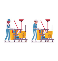 set of male and female janitor pushing cart with vector image