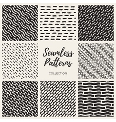 Set of Nine Seamless Lines Patterns vector image