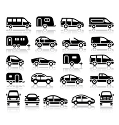 Set of transport black icons vector