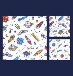 Set space seamless pattern print design doodle vector