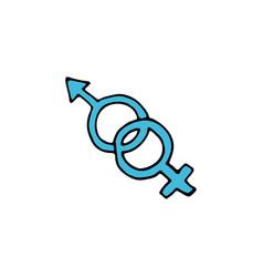sign man and woman cartoon hand drawn icon vector image