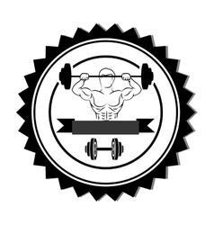 silhouette stamp border with muscle man lifting a vector image