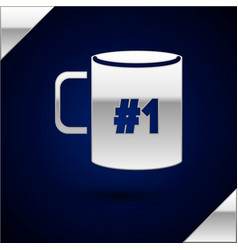 Silver coffee cup flat icon isolated on dark blue vector