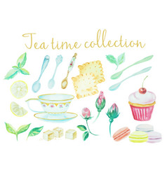 Tea time vintage watercolor cups spoons flowers vector