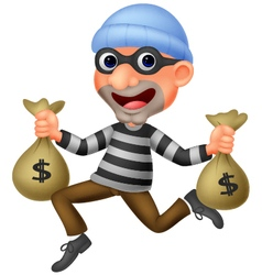 Thief carrying bag of money with a dollar sign vector image vector image