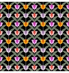 tulips on black seamless back ground vector image