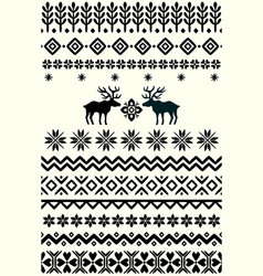 Ugly sweater seamless borders vector