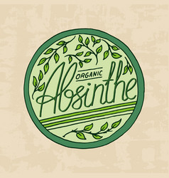 vintage absinthe label badge strong alcohol logo vector image