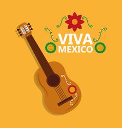 Viva mexico guitar instrument music flower vector