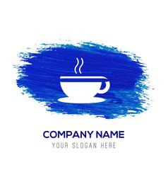 Warm drink icon - blue watercolor background vector