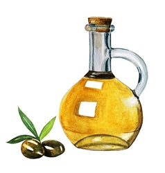 Watercolor extra olive oil bottle and olives with vector image