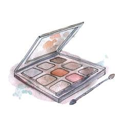 Watercolor eyeshadow in gray packaging on vector