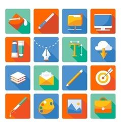 Web Design Flat Icon Set vector image
