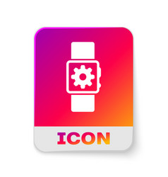 White smartwatch setting icon isolated on white vector