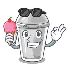 With ice cream plastic cup in the character image vector