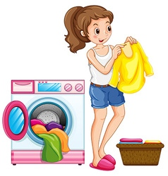 Woman washing clothes in house vector