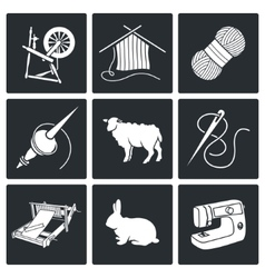 Wool knitting Icons Set vector