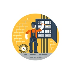 Worker with screwdriver fixing electricity box vector