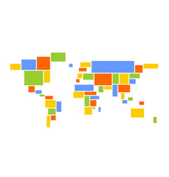 world map mosaic of multicolored rectangles vector image