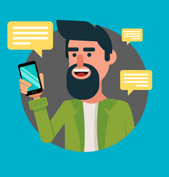 bearded man with smartphone hipster guy vector image vector image