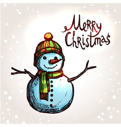 Christmas Card With Hand Drawn Snowman vector image vector image