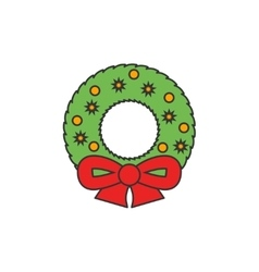 Christmas wreath flat line icon vector