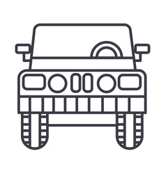 jeep front view line icon sign vector image vector image