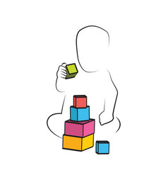kid playing toys blocks child development and vector image vector image