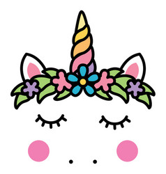 minimalistic unicorn face with floral wreath vector image vector image