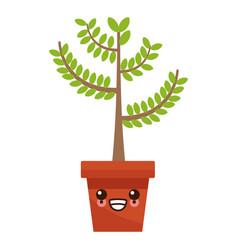 plant in vase kawaii cartoon vector image