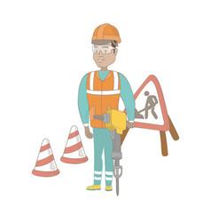 young hispanic builder using pneumatic hammer vector image