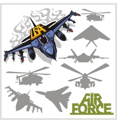 Air force - silhouettes planes and helicopters vector image
