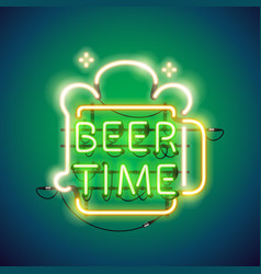 Beer time neon sign vector