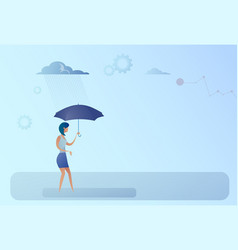 business woman hold umbrella stand rain protection vector image