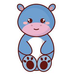 Cute and tender hippopotamus character vector