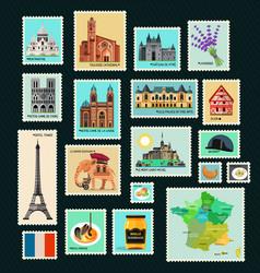France travel stamps vector