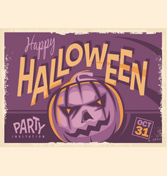 halloween party retro invitation card design vector image