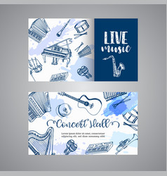 live music tickets music instruments banner vector image