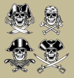 Pirate skulls vector