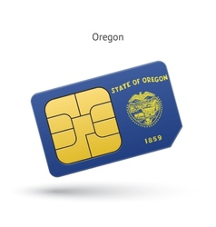State of Oregon phone sim card with flag vector image vector image