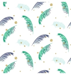 Blue and green palm leaves white seamless vector image vector image
