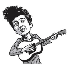 Bob dylan cartoon black and white vector