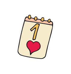 calendar cartoon hand drawn icon vector image