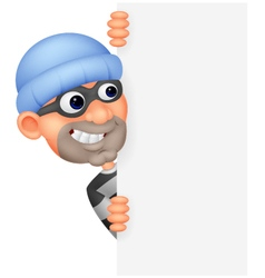 Cartoon thief looking around the edge of a blank s vector image