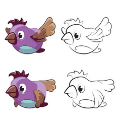 childrens coloring page with flying cartoon birds vector image