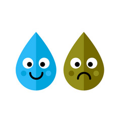 clean and dirty water drops characters icon vector image