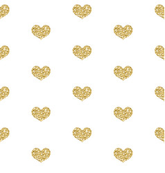 gold glitter heart seamless pattern isolated on vector image